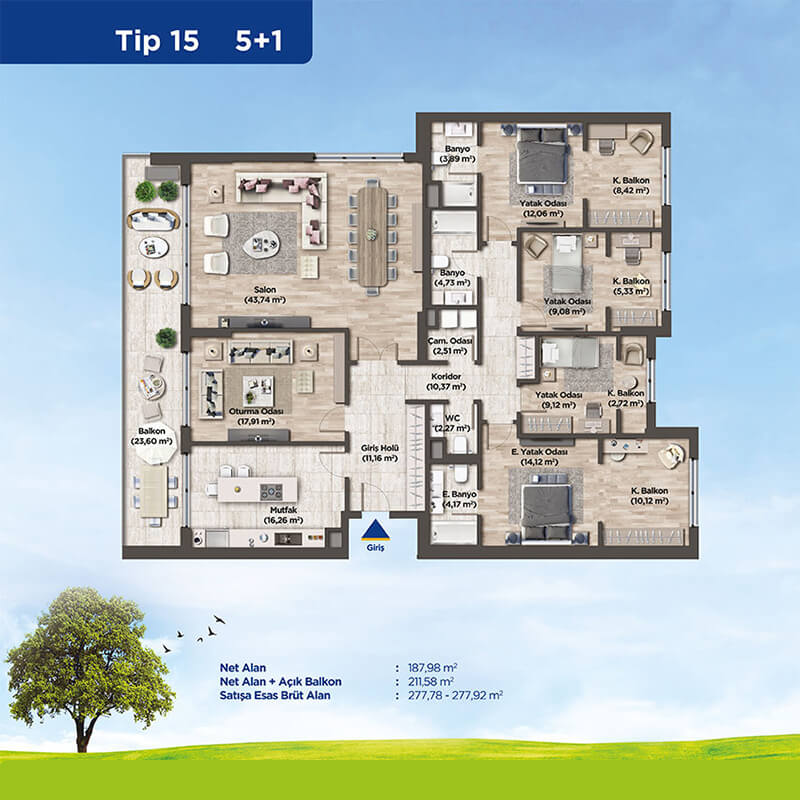 For lovers of large and spacious apartments this project meets your needs